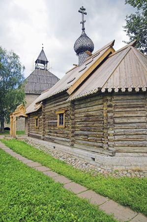 Ancient Russian loghouse church near Saint Petersburg, Russia.