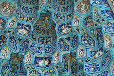 Fragment of tiled wall with Arabic mosaic of ancient mosque in Saint Petersburg, Russia. Stock Photo