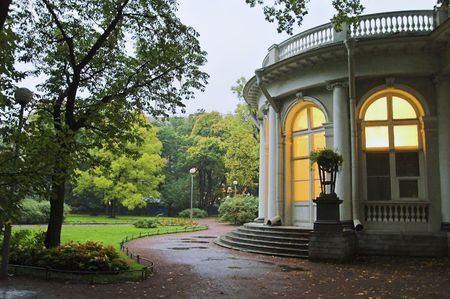 Palace in Park - 2 - A palace in an early autumn park at evening in Saint Petersburg, Russia