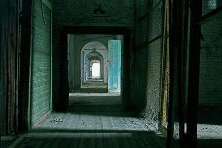 Abandoned Store house Building with empty rooms. Stock Photo