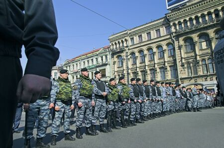 riots: ST PETERSBURG - MAY 1: Police officers lined to keep order during opposition protest rallies May 1, 2008, in St Petersburg, Russia. Editorial
