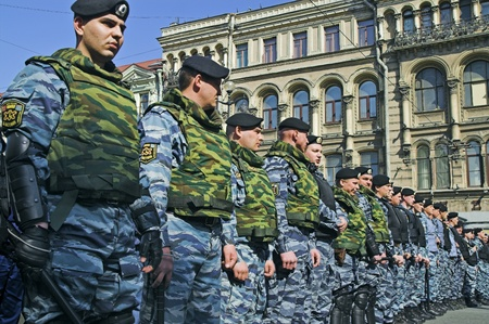 ST PETERSBURG - MAY 1: Police officers lined to keep order during opposition protest rallies May 1, 2008, in St Petersburg, Russia. Editorial