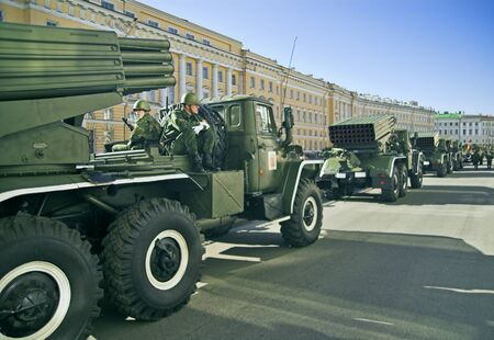 ST PETERSBURG, RUSSIA-MAY 8, 2008: Missile vehicles lined for a rehearsal before the celebration of World War II Victory Day on May 9, 2008. Editorial