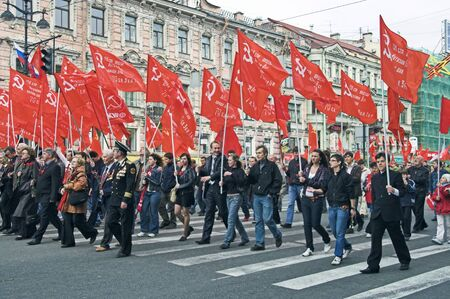 ST PETERSBURG - MAY 9: People walking in demonstration to celebrate World War II Victory Day May 9, 2008, St Petersburg, Russia. Editorial
