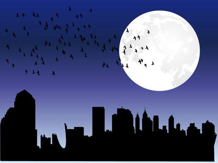 City skyline with moon and flock of birds Stock Vector - 8234433