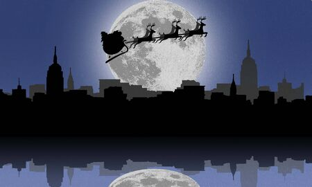 sillhouette: Sillhouette of Santa and Christmas Reindeer above the city