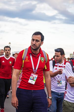 Disappointed football fans of Morocco after FIFA world cup match with Iran in St Petersburg Russia 2018 June 15. Loss 0 - 1. A man with a beard.