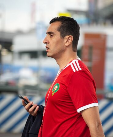 Disappointed football fan of Morocco after FIFA world cup match with Iran in St Petersburg Russia 2018 June 15. Loss 0 - 1. Half-face portrait