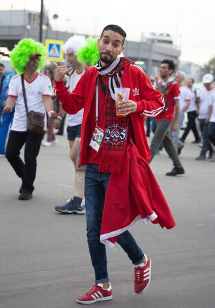 Disappointed football fans of Morocco after FIFA world cup match with Iran in St Petersburg Russia 2018 June 15. Loss 0 - 1. The man shows expression like 'well, it happens' Editorial
