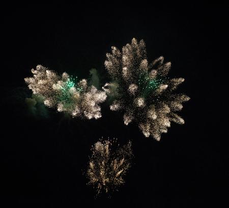 A monumental firework display in the night sky at Scarlet Sails festivity in Saint Petersburg ,Russia Stok Fotoğraf