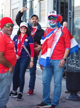 Football fans of Costa Rica at FIFA world cup. June 2018, St Petersburg, Russia Editorial