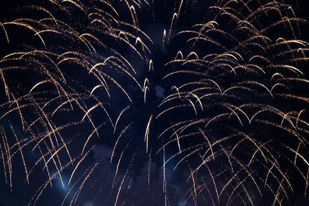 A fountain-like firework display in the night sky at Scarlet Sails festivity in Saint Petersburg ,Russia