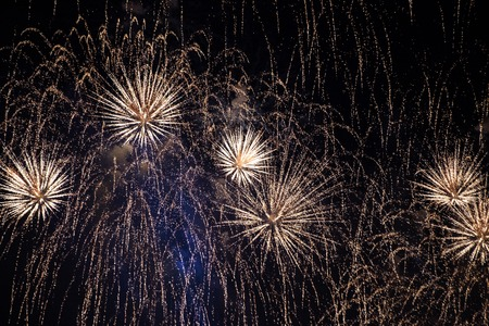 White expanding needles of firework display in the night sky at Scarlet Sails festivity in Saint Petersburg ,Russia Standard-Bild