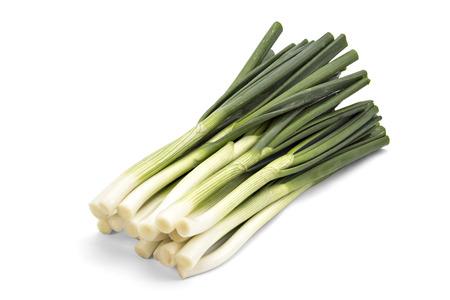 cebolla blanca: Primavera joven cebolla verde aislado en el fondo blanco