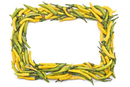 hot peppers: Fresh hot peppers frame border