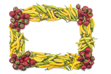 chiles picantes: Fresh hot peppers frame border