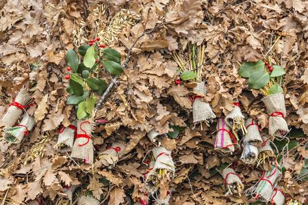 stock photo pile of badnjak on the market yule log mistletoe fir branches wheat serbian christmas - When Is Serbian Christmas
