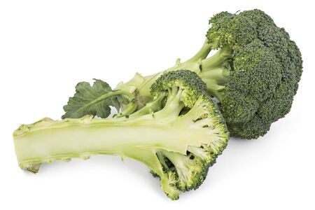 Two fresh green organic raw broccoli, one cutted, isolated on white Stock Photo
