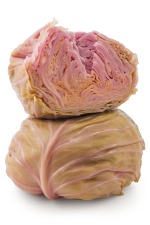 cutted: Pickled cabbages heads, one cutted, Sour cabbages Stock Photo
