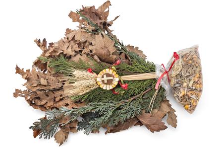badnjak yule log mistletoe fir branches wheat serbian christmas stock - When Is Serbian Christmas