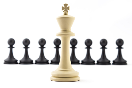 Chess business concept, leader & success. White king in front of black pawns Stock Photo