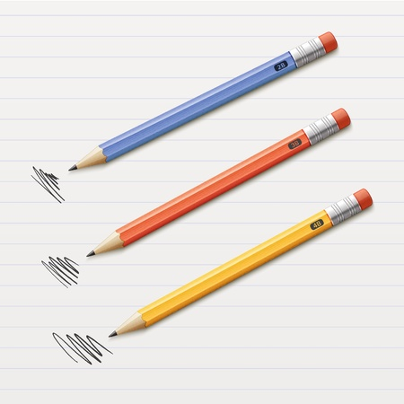 sharpened: Vector illustration of 3 sharpened pencils