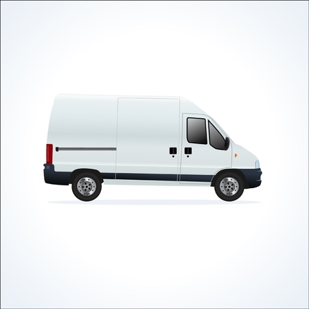 White vector delivery truck