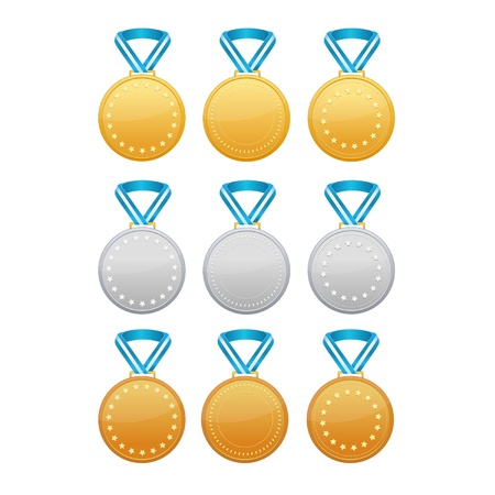 Set of gold, silver and bronze medals with blue ribbon