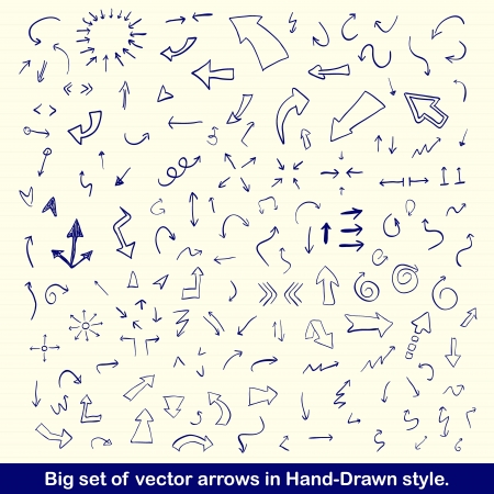 down arrow: Blue hand drawn arrows set
