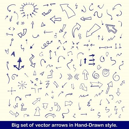 mani cartoon: Le frecce disegnate a mano blu impostato Vettoriali