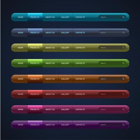 Set of 8 navigation bar for website Illustration