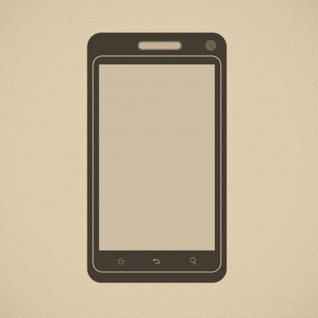 Silhouette of modern smartphone in retro style Illustration