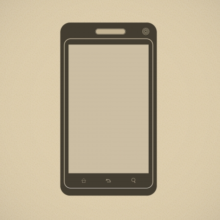 Silhouette of modern smartphone in retro style Illustration