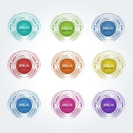 Set of multicolor  design elements for web