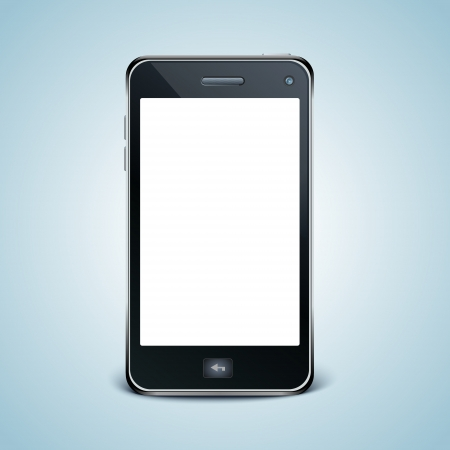 Modern cell phone with white screen