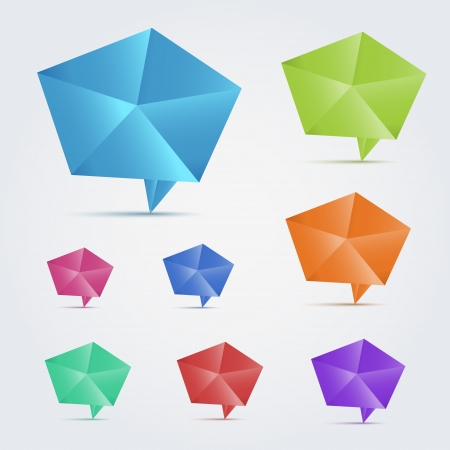 Set of 8 colorful origami speech bubles  Illustration