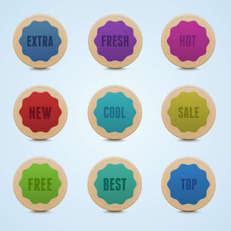 Set of 9 high detailed rounded stickers Stock Vector - 14297165