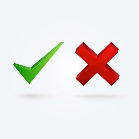 Iconos brillantes comprobación de validación y XMark Ilustración de vector