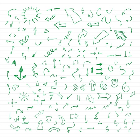Set of green hand drawn arrows  Illustration