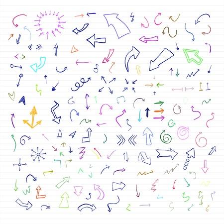 flecha derecha: conjunto de la mano de colores flechas dibujadas Vectores