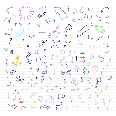 set of colorful hand drawn arrows Stock Vector - 14297191