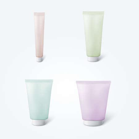 Set of 4 blank cosmetic tubes Illustration