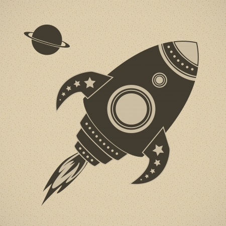 cartoon rocket: Vintage  rocket in space
