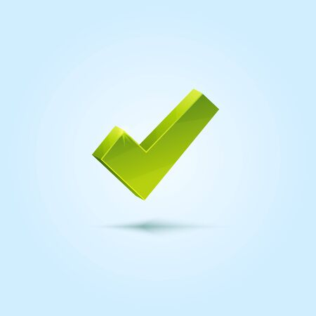 tick icon: Green check mark isolated on blue background
