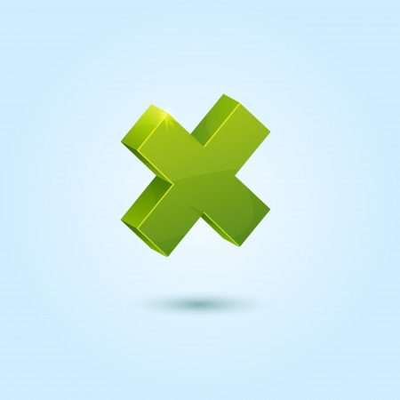 Green X mark symbol isolated on blue background Stock Vector - 14771379