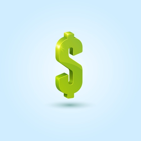 Green dollar sign isolated on blue background