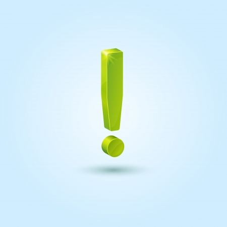 Green exclamation mark isolated on blue background Vector