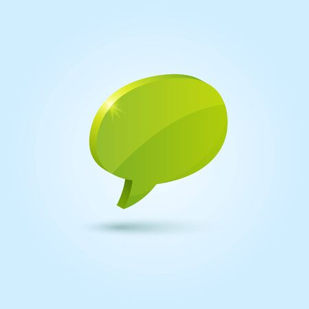 Green bubble speech symbol isolated on blue Vector