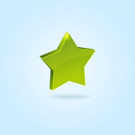 Green star symbol isolated on blue background Stock Vector - 14771383