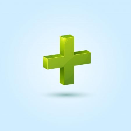 Groen plus symbool geïsoleerd op een blauwe achtergrond Vector Illustratie